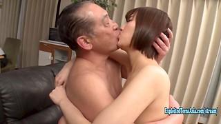 Jav First-timer Izumi Mikoto Penetrates Senior Duffer On The Bed
