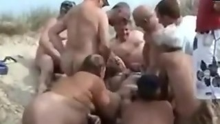 Naturist Group sex with platinum-blonde Kathy