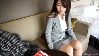 Chinese brown-haired honey torn up missionary fashion and gulps jism
