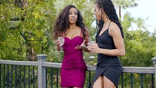 Dark-hued lezzies Kira Noir and Demi Sutra wank next to each other