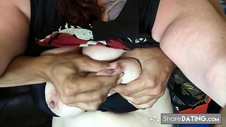 Slut getting her mounds spanked and squashed