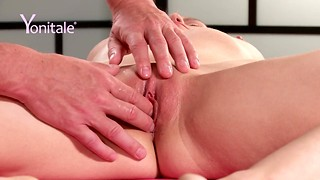 Wondrous blond Izzy squeals as her vagina is being toyed with