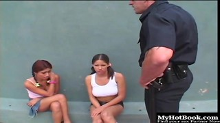 2 kinky bi-otches get screwed indeed stiff by a strung up police officer