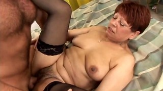 Gross mature black-haired blows and gets her unshaved poon penetrated deep
