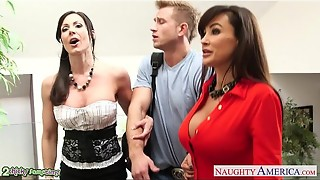 Buxom honies Kendra Passion and Lisa Ann ravage in threeway