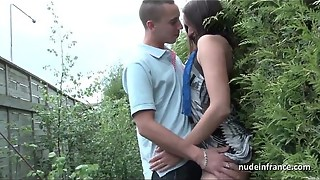 Youthfull french whore arse smashed and gang-fucked with Papy Hidden cam outdoor