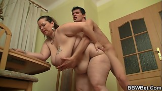 Bigcocked dude pokes yam-sized stomach bbw from behind