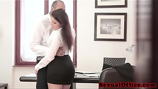 Huge-boobed office spex stunner gets jizz flow on bumpers