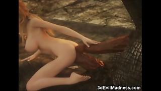 3 dimensional Elf Woman Demolished by Dragons!