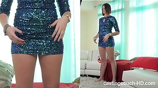 Black-haired tall model gets kinky at porno casting