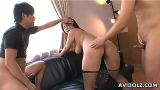 Chinese mega-bitch in fishnets has a four way boink