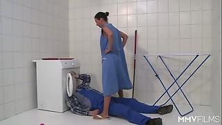 MMV FILMS German Mother masturbating the plumber