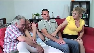 4 way orgy with huge-titted grandma