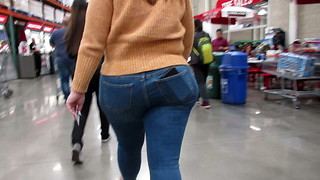 Latina massive rump and thighs in cock-squeezing denim and catapult heel footwear