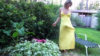 Wondrous MATURE Transgender princess IN  Lengthy YELLOW Sundress