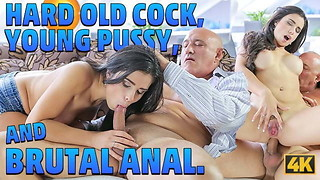 OLD4K. Clean-shaven mind-blowing daddy has heavy meatpipe for buxomy brunett