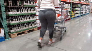 Fleshy huge Phat backside white girl backside in gray ebony stretch pants