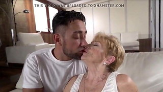 A insane granny is pounded by a warm youthful boy
