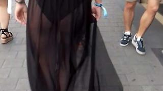 female in a observe thru sundress like a biotch