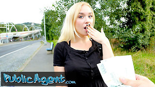 Public Agent blondie teenager Russian Vera Jarw torn up outside