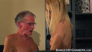 Scrawny elderly fellow pokes a uber-sexy blondes cock-squeezing gash firm
