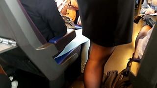 Schoolgirl in ebony tights standing in instruct