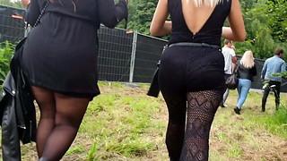Hidden cam donk in fishnet trousers ambling