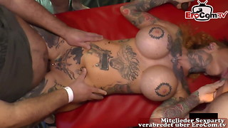 Internal cumshot spunk tat fucksluts at german gang-fuck soiree