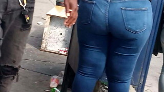 Youthfull Plumper Ample bum in jeans(Bus Stop)