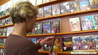 Grannie Miluska Banging A Youthfull Movie Store Clerk