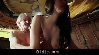 Mouth-watering Youthful chick tempts naive grandfather for popshot taste