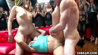 Super-naughty femmes fellate and pound in the club