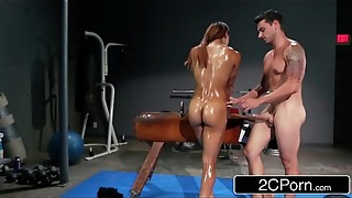 Splendid Latin Athlete Sophia Fiore Providing Head in the Gym