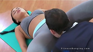Sport coach bangs dark-haired gal