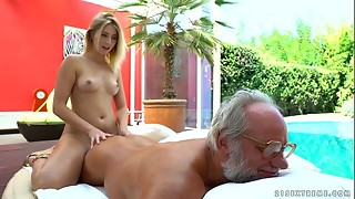 Aria Logan and her much aged acquaintance - Grandfathers Pound Teenagers