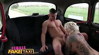 FemaleFakeTaxi Thick funbags blond plows her passenger