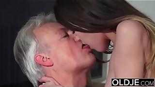 Elder and Youthful Pornography - Childminder gash screwed by older dude and drinks jism