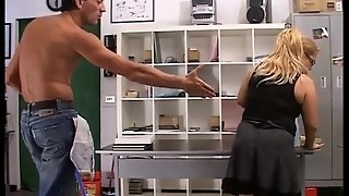 Chunky ash-blonde bullied and manhandled at work!