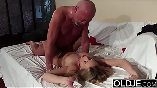 Senior Youthfull - Platinum-blonde oral pleasure and doggie-style ravage from granddad youthful gal fuck-fest