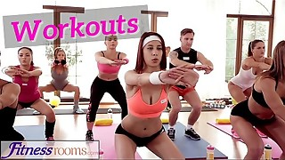 Sport Apartments Youthfull sweat-soaked gym women have girl-on-girl three-way after exercise