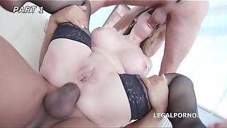 Cathy Heaven gets the Group Pound Culo Smash of her Life by 7 Dudes!