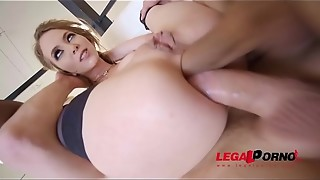 Exxxtra Goregeous Angel Smalls folded in half, gasped and DP'_ed!