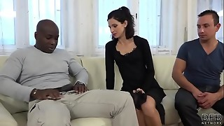 Hotwife Instructing Wifey drills ebony fellow in front of spouse and cooter ate