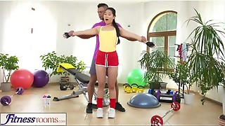 Sport Apartments Xxx gym pummeling and facial cumshot for uber-cute Japanese honey
