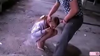Youthfull russian prostitute compelled to facefuck gargle hard-core