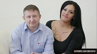 Swinger whore Ashley Cumstar torn up in front of hubby