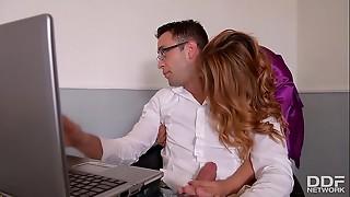 Naughty Wifey Ani Blackfox Smashed rock hard by Remote work Spouse