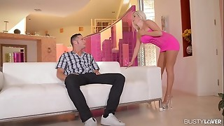 Huge-titted Call girl Savannah Stevens shoots a load Stiff on a Ample Man rod