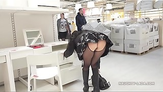 Brief microskirt and sheer half-shirt for showcasing and public upskirt