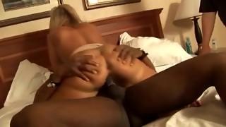 Platinum-blonde Mummy adult movie star Alysha in a gang-fuck